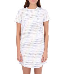 roller rabbit disco hearts cotton t-shirt nightgown, size large in white multi at nordstrom