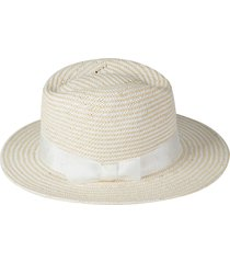 kate spade new york two-tone woven straw trilby hat in white at nordstrom