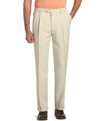 jos. a. bank men's traveler collection performance traditional fit pleated front pants - big & tall clearance, stone, 44x29