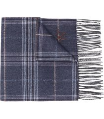 canali checked winter scarf - blue