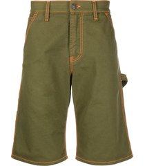 msgm strap detail denim shorts - green