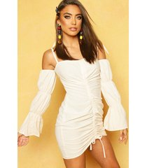 volume sleeved ruched mini dress, sand