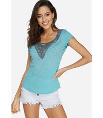 sky blue lace insert floral print round neck short sleeves top