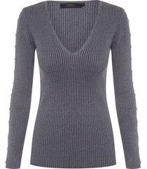 blusa feminina pérola manga - cinza