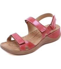 sandalias antideslizantes de cuero vintage para mujer