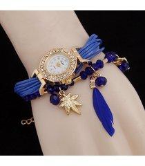 orologi a più strati del pendente del quarzo della piuma della foglia del gufo degli orologi del braccialetto a più strati della boemia per le donne