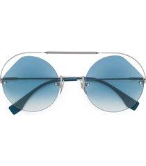 fendi eyewear ribbons & crystals sunglasses - silver
