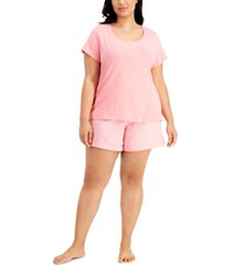 charter club plus size henley & shorts cotton pajama set, created for macy's