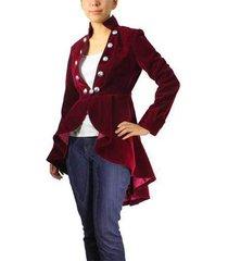 flocking velvet asymmetry jacket red victorian button down steampunk vintage