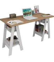 mesa escrivaninha self castanho e branco appunto - marrom - dafiti