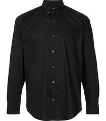 cerruti 1881 brooch plain shirt - black