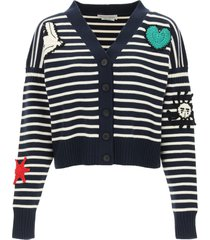 alexander mcqueen striped cardigan with crochet embroidery