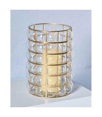 luminária vidro e aço cor: transparente e dourado - tamanho: único