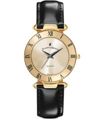 jacques du manoir ladies' black genuine leather strap with goldtone case and dial, 33mm