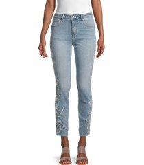driftwood women's jackie embroidered vine striped jeans - light wash - size 25 (2)