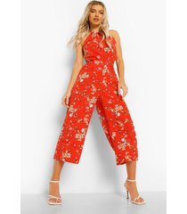 bloemenprint culotte jumpsuit met hals strik en uitsnijding, red