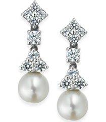 arabella bridal cultured freshwater pearl (7mm) and swarovski zirconia (1-5/8 ct. t.w.) drop earrings in sterling silver