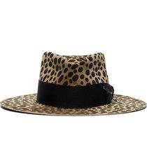 leopard lynx print fedora hat