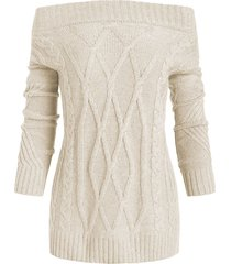 off shoulder cable knit solid sweater