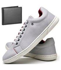 kit tênis sapatênis casual fashion com carteira dubuy 940el cinza