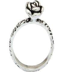 anel  flor rosa  prata 925