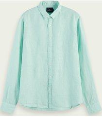 scotch & soda 100% linnen overhemd met lange mouwen