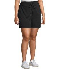 marc new york performance women's plus fleece drawstring shorts - black - size 2x (18-20)