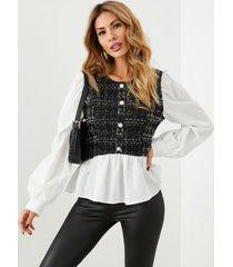 blusa de manga larga con cuello redondo y diseño de botones a cuadros de yoins