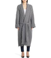 women's alanui oversize fisherman cardigan coat, size medium - grey