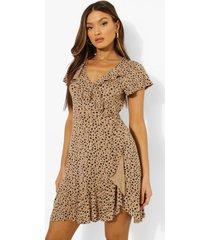 dalmatiërprint jurk met ruches, stone