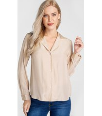 camel notch collar front button long sleeves blouse