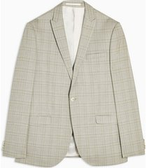 mens stone check single breasted slim fit suit blazer with peak lapels