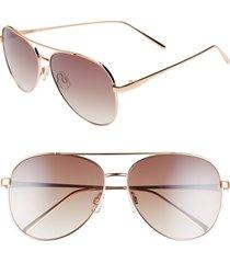 women's bp. 60mm browbar metal aviator sunglasses - gold/ brown