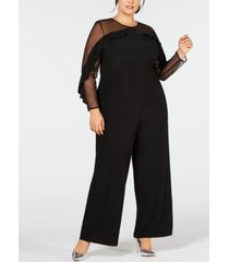 r & m richards plus size ruffled illusion jumpsuit