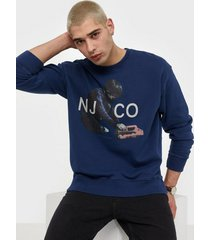 nudie jeans lukas logo boy tröjor blue