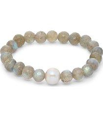 labradorite & 8mm gray baroque freshwater pearl beaded bracelet