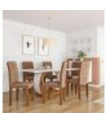 conjunto de mesa de jantar com 6 cadeiras estofadas mia animalle off white e chocolate