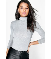 basic turtle neck long sleeve top, grey