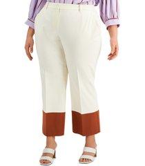 alfani plus size straight-leg colorblocked pants, created for macy's