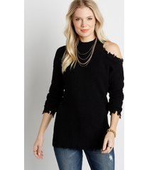 maurices womens solid destructed asymmetrical cold shoulder pullover