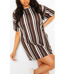 plus stripe oversized tshirt dress, black