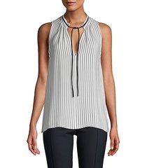 pinstriped sleeveless blouse