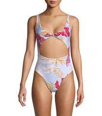 kylie floral cutout one-piece swimsuit