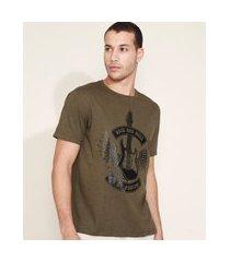 "camiseta masculina rock and roll"" manga curta gola careca verde"""