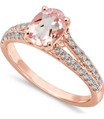 gemstone bridal morganite (1 ct. t.w.) & diamond (1/3 ct. t.w.) engagement ring in 14k rose gold
