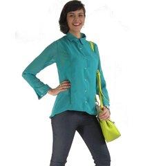 blusa camisera aranzazu transparencia sahara verde