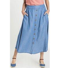 falda botones azul curvi