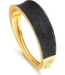 bracelete largo cravejado com zircônias pretas folheado francisca joias