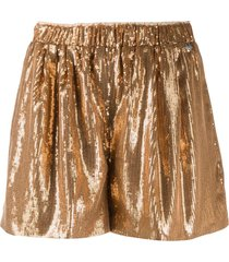 twin-set high-waisted sequinned shorts - gold