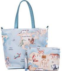 zestaw torba i kosmetyczkamapa zwierząt
